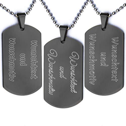 Beidseitige Wunschgravur Dog Tag Halskette | Anhänger aus Edelstahl im Satinsäckchen | Schwarz Silber Gold | Zwei Seiten 2 Personalisiert Text | Army Militär Erkennungsmarke | Kugelkette Schwarz