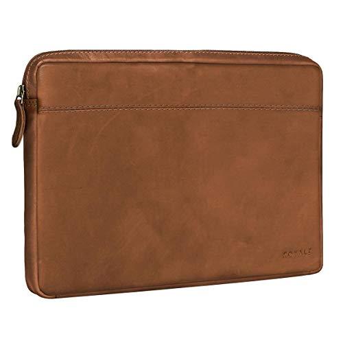 ROYALZ Universal Notebook/Tablet Ledertasche 12.3-13.3 Zoll Tasche 2in1 Convertible Ultrabook Lederhülle Schutzhülle Cover Sleeve Folio Vintage Leder, Farbe:Hellbraun Matt