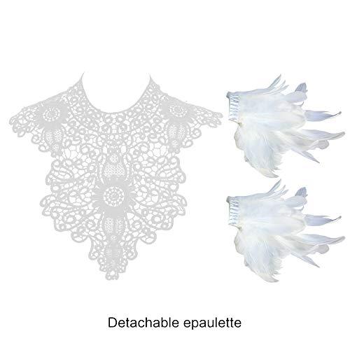 sigando Homelex Gotisch Weiß Wirklich Feder Epaulette Schulter Flügel Für Männer Damen, Ym-17, Einheitsgröße