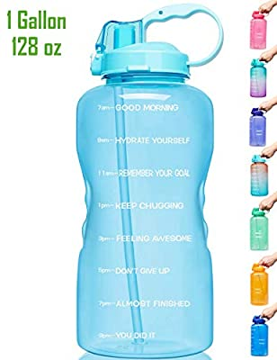 Venture Pal Large 1 Gallon/128 OZ (When Full) Motivational BPA Free Leakproof Water Bottle with Straw & Time Marker Perfect for Fitness Gym Camping Outdoor Sports-Light Blue