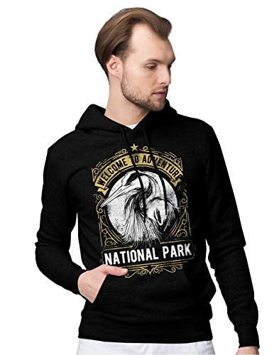 BLAK TEE Homme Welcome to Adventure National Park Camping Slogan Sweat a Capuche XXL
