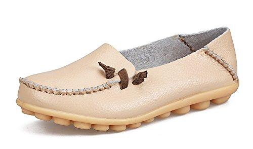 VenusCelia Women's Comfort Walking Cute Flat Loafer(5 M US,Beige)