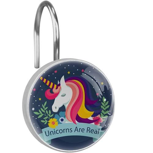 Unicorn Elementos Florais - Ganchos para cortina de ducha para baño de bebé, 12 unidades