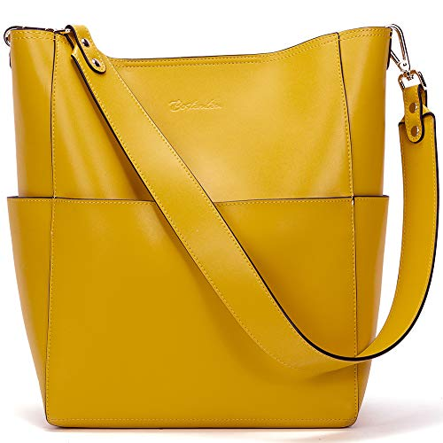 Material: Top Layer Cowhide Leather, high quality light gold hardware. Come with metal magnetic buckle closure for extra security. The removable pouch use durable fabric lining. It makes the handbag noble, and it highlights your feminine elegance. Di...