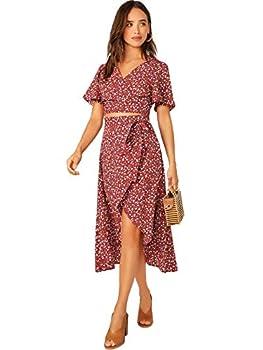 SheIn Women s Floral Flutter Short Sleeve Crop Top & Flounce Hem Wrap Skirt Set Large Red