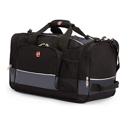 SWISSGEAR APEX Duffel Bag | Gym Bag | Travel Duffle Bags | Men's and Women's - Black (Grey/Black, 28 Inch)
