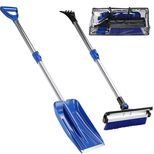HONGNAL 4 in 1 Snow Removal Kit Telescopic with 40in Snow Shovel Extendable, 33in Ice Scraper and Snow Brush,Squeegee for Car, Snowmobiles,ATV –Winter Survival Gear for Camping -Detachable