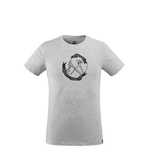 Millet - Old Gear TS M - T-shirt Sport Homme - Respirant - Randonnée, Approche, Gris (HEATHER GREY), L