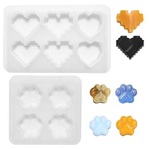 Daimay 2 moldes de silicona para moldear con espejo, forma de corazón, 3D, lisos, artesanales, con forma de estrella, hechos a mano, de silicona, para decoración de manualidades, joyas