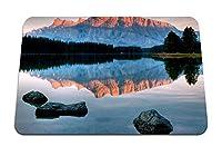 22cmx18cm マウスパッド (石水湖滑らかな表面浅瀬底山木反射影) パターンカスタムの マウスパッド