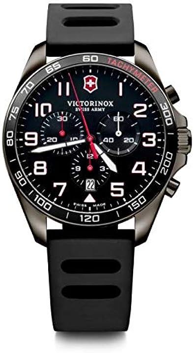 Orologio cronografo victorinox analogico in acciaio inossidbile fabbricato in svizzera 241889 uomo fieldforce