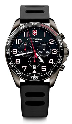 Victorinox Herren FieldForce Sport Chronograph - Swiss Made Analog Quarz Edelstahl/Gummi Uhr 241889