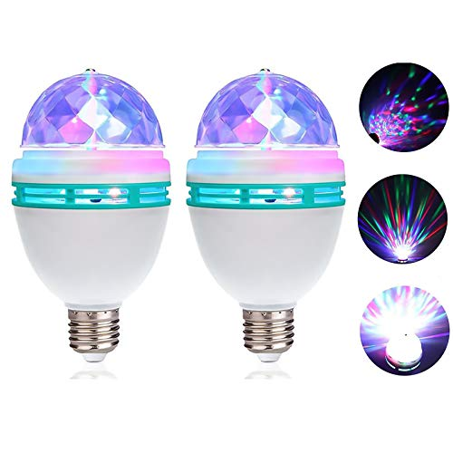 CSKB Disco Lights for Parties Disco Ball Light Rotating Crystal Disco Light Bulb Multi Changing Color Dance Club Pub Show Bar Party Lights 2 PCS