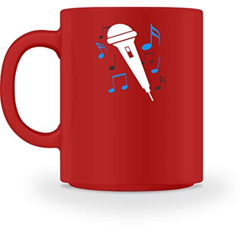 SPIRITSHIRTSHOP Micrófono, cantante, cantante, notas, caracteres sonoros, cantar, música, estrella, banda, hobby, famoso - Taza. rojo M