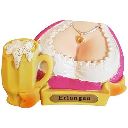 Ciffre Kühlschrank Magnet Polyresin Bierkrug Maß Bier Dirndl Busen - Erlangen B8