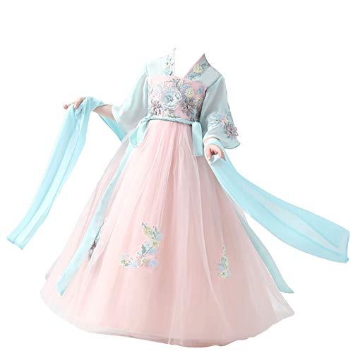 XYW Hanfu de los niños - Chica Traje Super Fairy Girl Student Elegant Chinese Style Falda Guzheng Dance Rendimiento Disfraz otoño e Invierno (Color : #6, Size : #120)