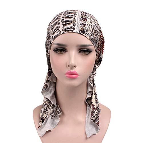 SUPVOX Foulard en coton avec motif amibe et capuchon de nuit pour la perte de cheveux du sommeil (bonnet noir et blanc)