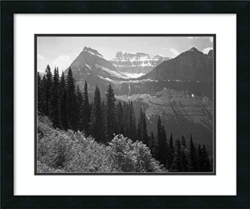 Framed Wall Art Print Trees Bushes and Mountains Glacier National Park Montana National Parks and Monuments 1941 by Ansel Adams 25.12 x 21.12 in.