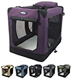 EliteField 3-Door Folding Soft Dog Crate, Indoor & Outdoor Pet Home, Multiple Sizes and Colors Available (36' L x 24' W x 28' H, Purple)