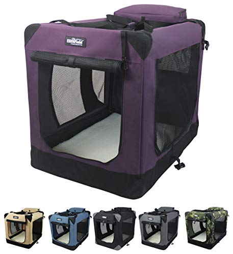 """EliteField 3-Door Folding Soft Dog Crate, Indoor & Outdoor Pet Home, Multiple Sizes and Colors Available (30"""" L x 21"""" W x 24"""" H, Purple)"""