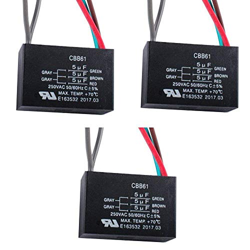 CBB61 5 Wire Ceiling Fan Capacitor for New TECH 5+5+5uf 50/60Hz 250VAC (3 pcs)
