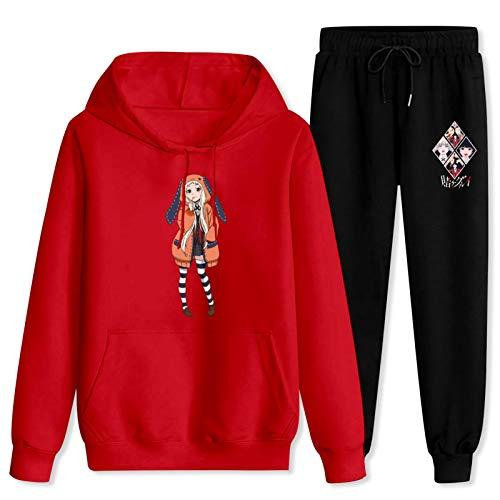 CAPINER Adult 2 Piece Set Run-a yo-mozu-ki Tracksuit Sportwear Set Pullover Hoodies+Jogger Pant Men Women Women-2XL/Men-XL Red and Black