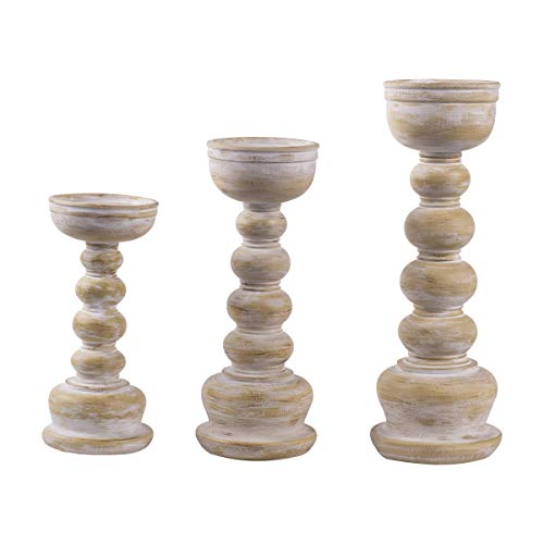 JIXIN Wood Look Antique Wash Finish Pillar Candle Holders Set of 3, Ideal for LED and Pillar Candles, Gifts for Home, Living Room, Dinning Room, Party,Kitchen,Spa, Wedding and Anniversary