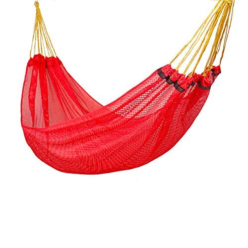 RWEAONT Hamaca de Seda de Hielo Swing al Aire Libre de Malla Individual Hamaca Interior Dormitorio Dormitorio Doble Hamaca Silla Adulto niño (Color : Red)