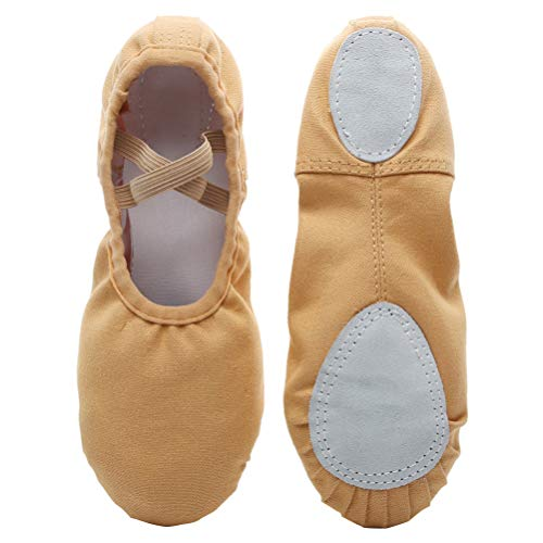 Exceart Ballet Dancing Shoes With Gauze Flower Leather Soles Dance Shoes For Kids Size 23 Red
