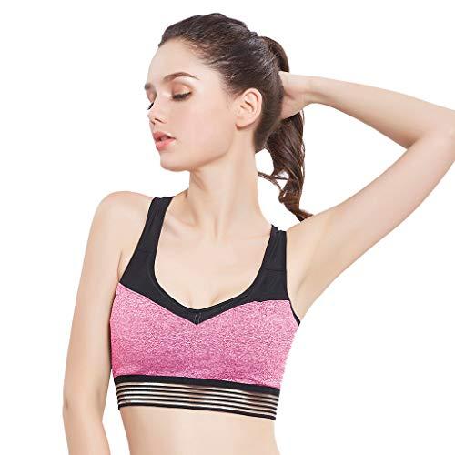 Soutien Gorge pour Fitness Sport Yoga Cyclisme Musculation Gymnastique Running Haut de Sport Top de Sport sous-vêtement Bra 1Piece (Rose, Gris S, M, L) WINJIN