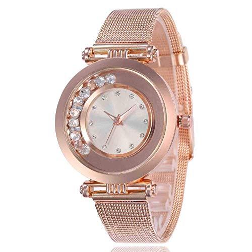 WMYATING Exquisito, Hermoso, decente, novedoso y único. Relojes de Pulsera Baixa Women's Watch Smoothie Diamond Alloy Mesh Cinturón Moda Reloj de Cuarzo de Moda Blanco