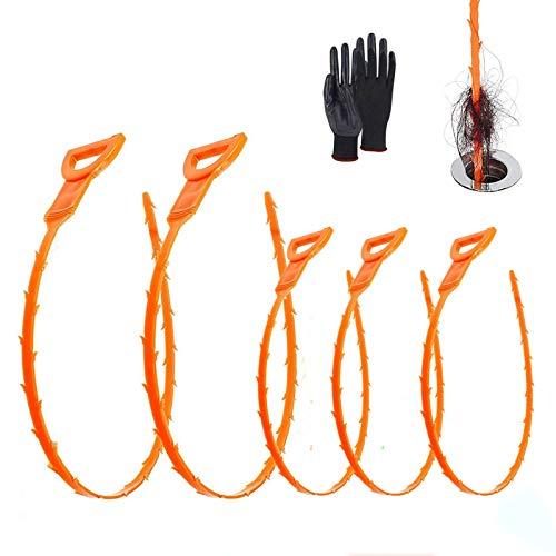 Rohrreinigungsspirale mit zwei Längen-20 und 25 Zoll, Plastik Abflussspirale mit einfacher Bedienung, Abflussreiniger Haare für Kanalisation, Küche und Duschen, Abflussreiniger kommt mit Handschuhen
