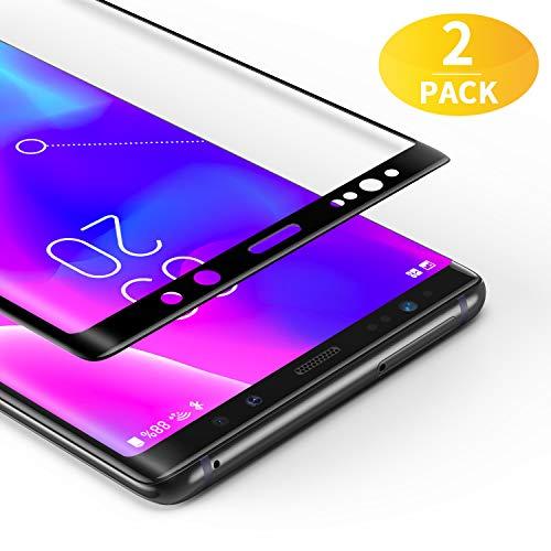 BANNIO [2 Stück für Panzerglas für Samsung Galaxy Note 8, HD Ultra-klar Panzerglasfolie Full Sreen, 9H Festigkeit, Anti-Kratzen, Leicht Anzubringen,Vollständige Abdeckung - Schwarz