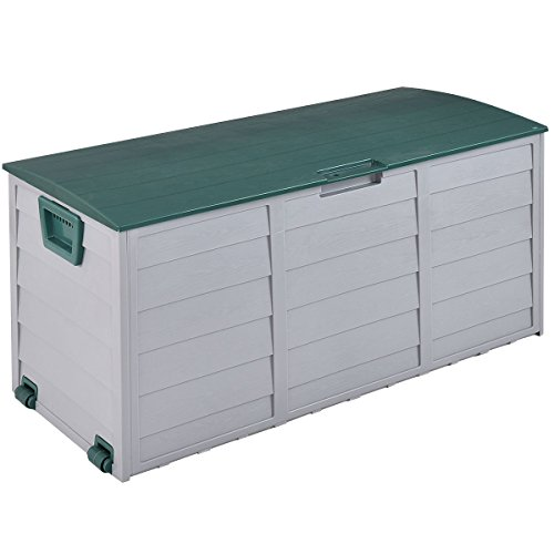 """44"""" Deck Storage Box Outdoor Patio Garage Shed Tool Bench Container 70 Gallon"""