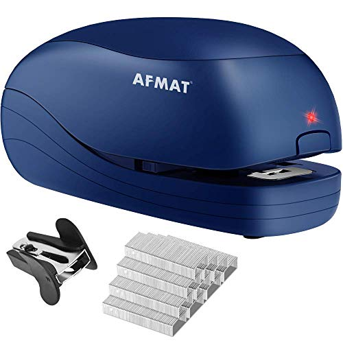 Electric Stapler Desktop, Automatic Staplers for Desk, Portable Stapler, AC or Battery Powered Heavy Duty Stapler, with Reload Reminder & Release Button, 25 Sheets Capacity, Blue