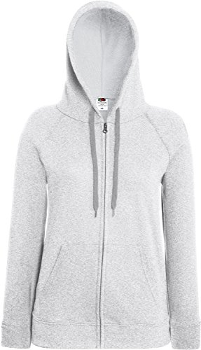 Fruit of the Loom Lady-Fit Lightweight Hooded Sweat Jacket 62-150-0 XL,Heather Grey