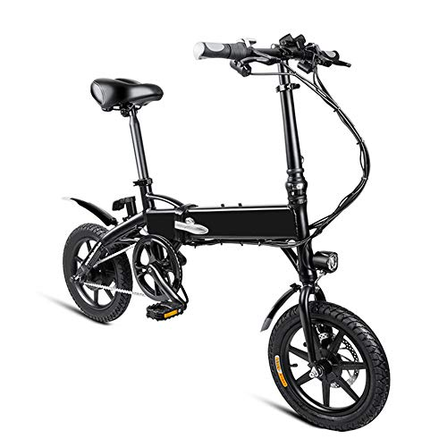 PHASFBJ Smart Folding Electric Bike, 14inch Mini Electric Bicycle for Adults 36V with LCD Screen City E-Bike Powerful Mountain Ebike for Men Women City Commuting,Black