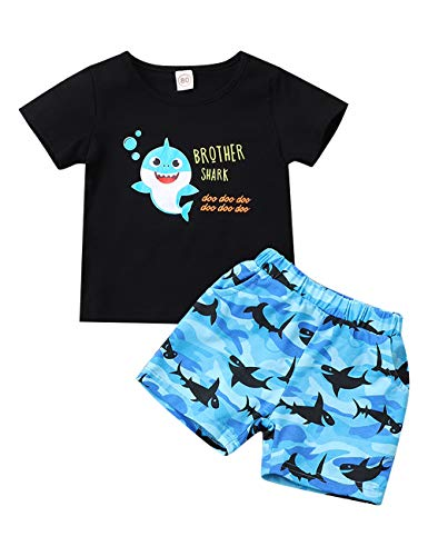 Toddle Baby Boy Clothes Shark Print Summer Cotton T-Shirt Tops and Short PantsOutfits Set(2-3 T) Black