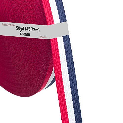 46m x 25mm Cinta Colorido Correa de Correas de Cincha de Poliéster - 1,3mm espesor, Cinta para Decoración Bricolaje Craft Mochila Flejes Delantal Bolsas, Rojo / Blanco / Azul, TKB5074 redwhiteblue