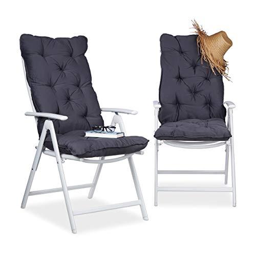 Relaxdays Juego de Cojines para sillón de Exterior Acolchados, Algodón, Gris,...