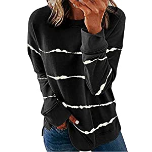 Women's Casual Crewneck Tie Dye Sweatshirt Striped Printed Loose Soft...