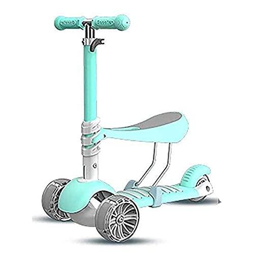 LINQ Scooter Plegable para niños Barras de Scooter, Scooter Adulto, Ruedas de Scooter, patear niños Ajustables con Asiento, Adecuado para niños de 2 a 6 años, Azul (Color : Blue)