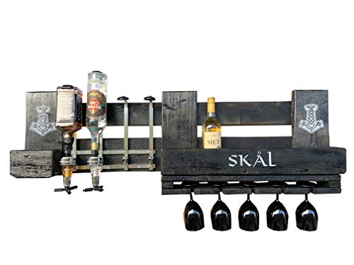 WIKINGER Wandbar SKAL mit Schnapsspender und Flaschenhalter, Weinregal Wand Regal aus Holz schwarz, Thor Hammer Mjölnir Nordmann