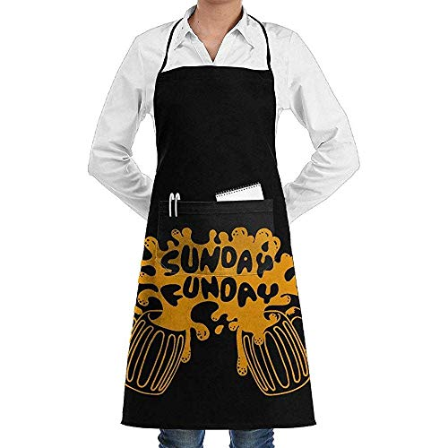 Reredith Novedad Sunday Funday Kitchen Delantal de Cocina con Bolsillos Grandes - Delantal de Chef para cocinar, Hornear, Hacer Manualidades, jardinería y Barbacoa