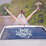 Vinyl Wall Art Decal - Just Married - 14' x 25' - Trendy Modern Celebration Wedding Quote for Modern Elegant Trendy Chic Wedding Accessory Bridal Clothes Dresses Hanger Decor