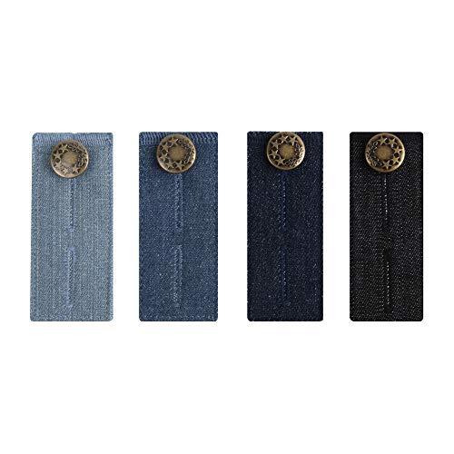 xydstay Denim Waist Extender for Women and Men, Button Extender for Jeans, Set of 4, Pants Waistband Extender …
