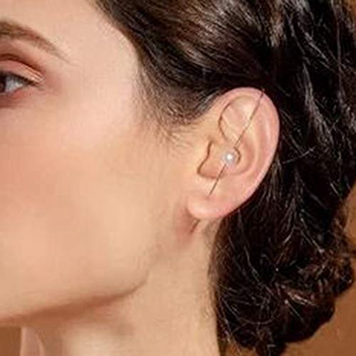nilaogen Store 1 pcs Dainty Alloy Rhinestone Ear Wrap Crawler Hook Earrings, Clip On Earrings for Women, Rose Gold
