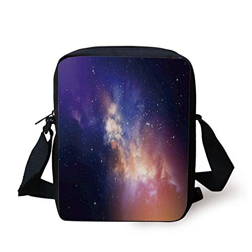 Space,Stars in Sky Supernova Comet Constellation Light Years Meteor Planetary Image,Dark Blue Purple Print Kids Crossbody Messenger Bag Purse