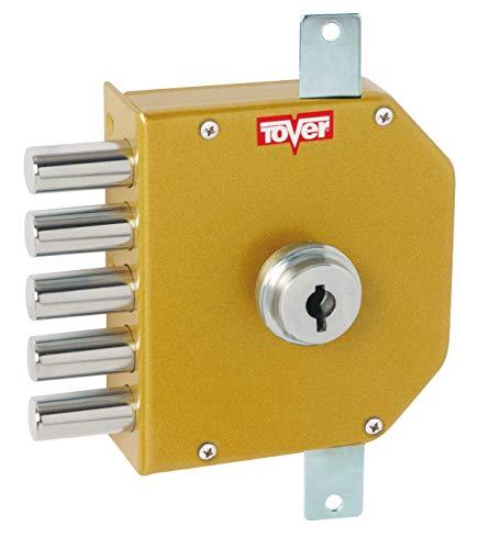 Tover 8001P, Cerradura seguridad 3P c/barras cierre interior T2 c/llave izqda. esm.oro