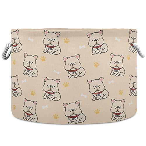 visesunny Cute French Bulldog Nursery Hamper Basket Clothes Toy Storage Organizer Bin Box Collapsible Laundry Bag for Kid Room,Playroom,Bathroom,Living Room,Dorm